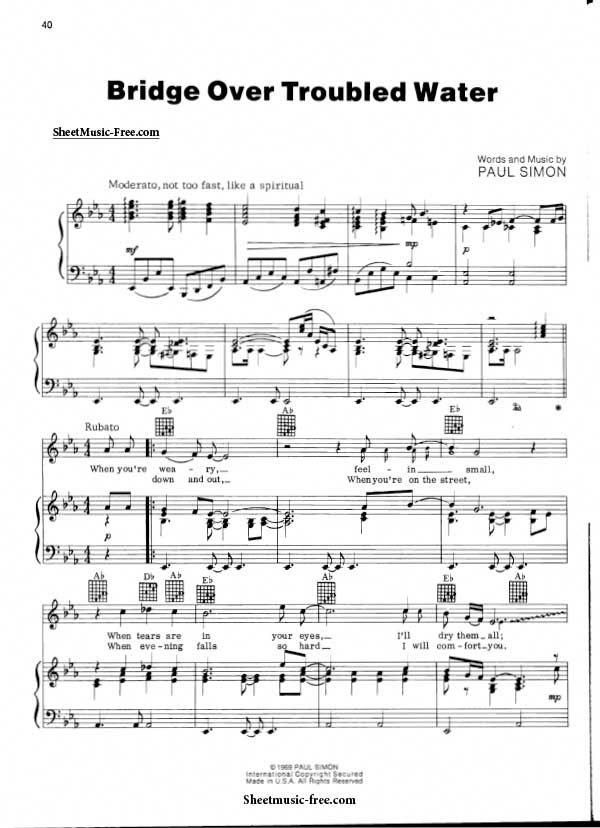Bridge Over Troubled Water Sheet Music Simon And Garfunkel