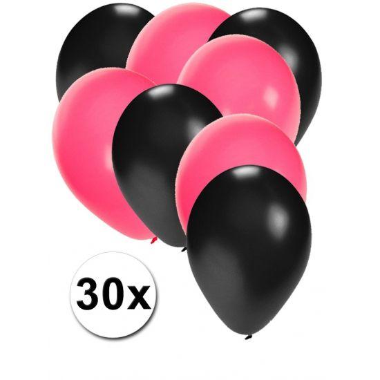 Zwarte en roze ballonnen 30 stuks  30 stuks ballonnen in de kleuren zwart en roze. Van elke kleur 15 ballonnen leuk voor verjaardagen en themafeesten. Formaat is ongeveer 27 cm. Goede kwaliteit.  Dit artikel bestaat uit: 1x Roze ballonnen 15 stuks 1x Zwarte ballonnen 15 stuks  EUR 2.99  Meer informatie