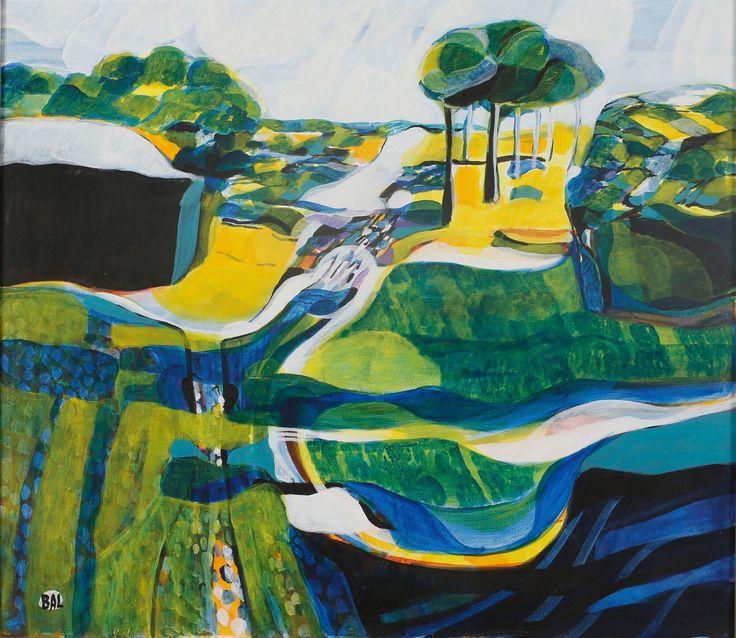 Bengt Arne Linderos (Swedish, 1928-1989), Landscape. Oil on canvas, 70 x 80 cm
