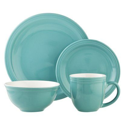 Room Essentials Glazed Stoneware 16-pc. Dinnerware Set - Vintage Teal. for the kitchen!