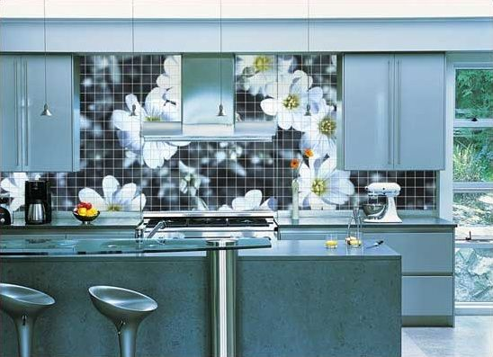 Amazing Flower Print Tiles On Wall Kitchen