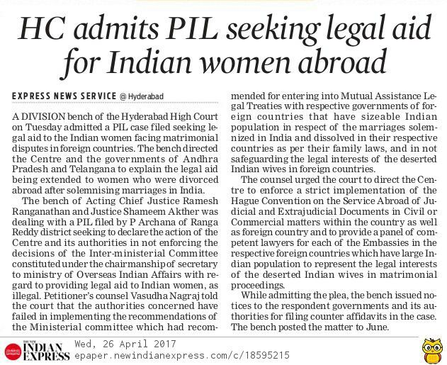 A division bench of the Hyderabad High Court has admitted a PIL case filed by Archana of Ranga Reddy District seeking legal aid to the Indian women facing matrimonial disputes in foreign countries.