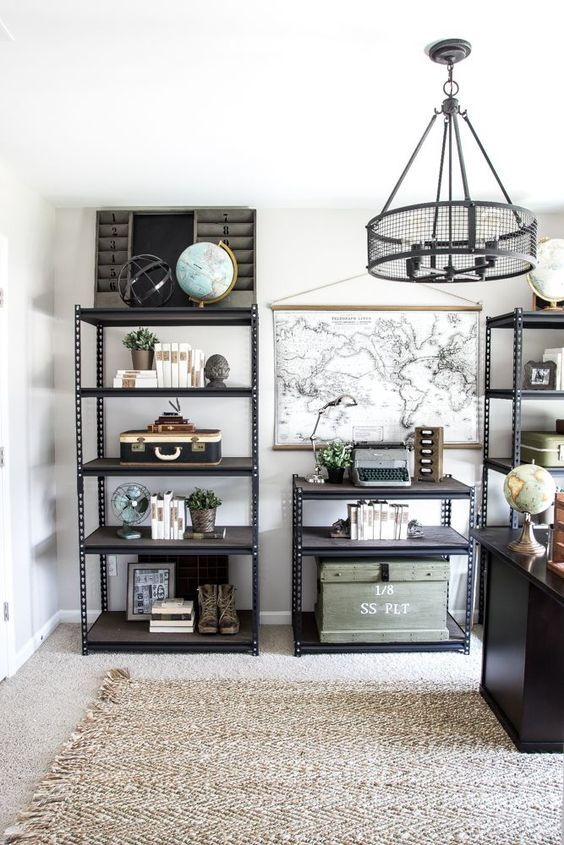 Industrial Military Office Reveal   http://blesserhouse.com - A masculine office makeover using lots of DIYs and thrift finds. Awesome space for a veteran!