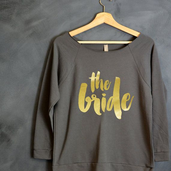 The Bride 3/4 Sleeve Off-the-Shoulder Shirt by HelloHandpressed