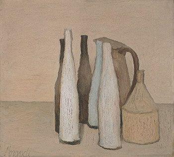 Still Life with Wine Bottles, Giorgio Morandi,1957
