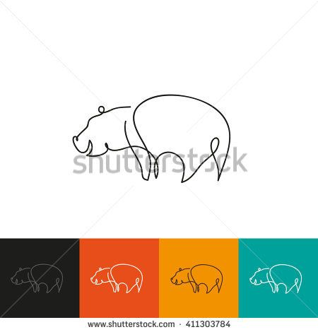 One line hippopotamus design silhouette. Hand drawn minimalism style vector illustration