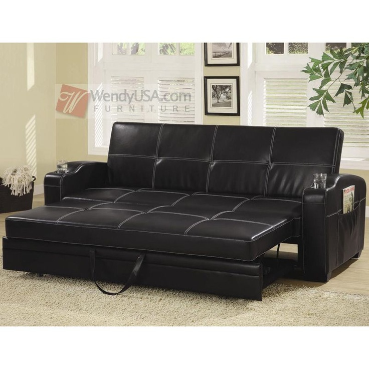Best Black Faux Leather Storage Sofa Bed Futon Sleeper With Cup 400 x 300