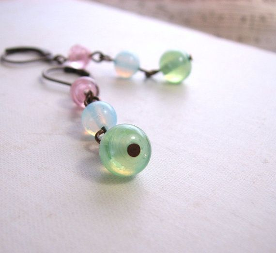 Pastel earrings with vintage pink blue green glass: Pastel Earrings, Crafts Ideas, Vintage Pink, Lampworking Glasses, Green Lampworking, Blue Green, Green Glasses, Pink Blue