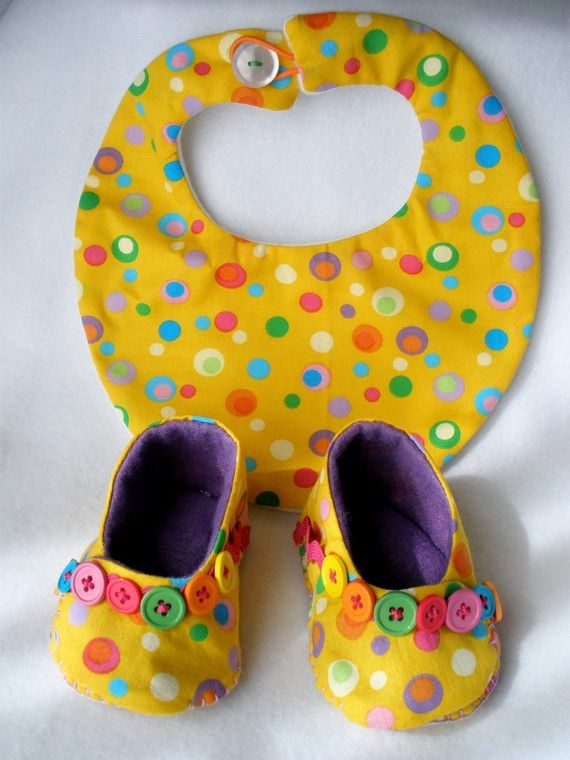 Baby Booties and Bib Set - Yellow Confetti Button Party