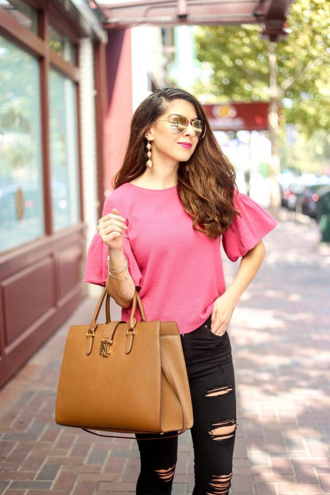 Ruffle Sleeve Top. Top with Ruffles. Pink Top. Pink Fall top. Pink Bell Sleeve Too. Black Denim Style. Fall Fashion.