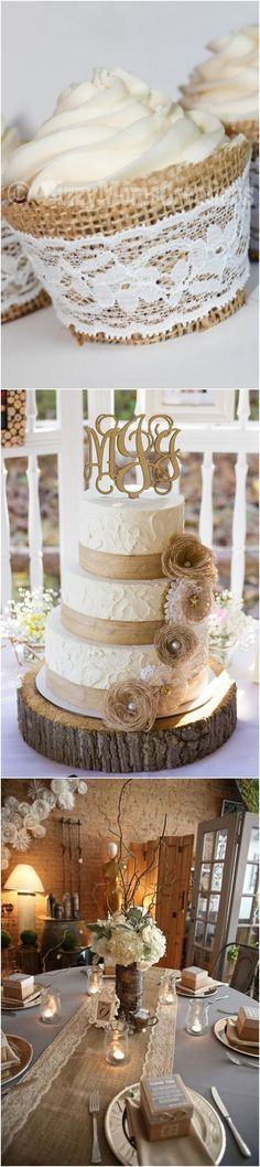 lace and burlap chic rustic wedding cake ideas
