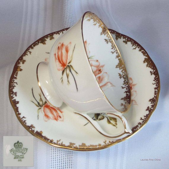 Vintage Aynsley ROSES - Orange - Bone China Tea Cup and Saucer - Made in England