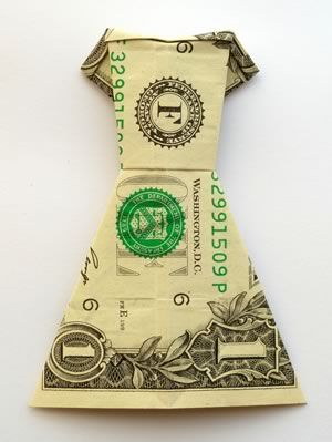 Origami - Money Dress | A Guide to Make Your Own- this and my bow tie money....it would make the waitor feel underdressed