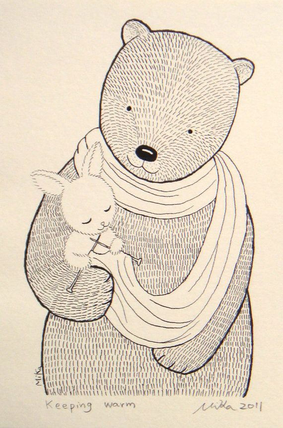 Bear & Bunny By MikaArt @ Etsy