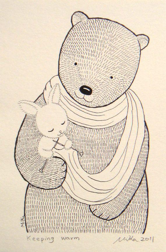 Titel; Warm houden  Kleine konijntje weet dat ze een kleine schepsel - maar ze grote beer warm met haar handgemaakte teken van liefde houden kan!  Dit is een afdruk van mijn oorspronkelijke inkt tekenen.  Het meet 4 x 6. U kunt mat en frame (zoals voorgesteld in het beeldscherm) of het gewoon rechtstreeks in een frame 4 x 6 knallen. * Houd er rekening mee dat u het afdrukken alleen koopt. Mat en kader zijn niet inbegrepen *  Heb je een keuze: Ik kan dit afdrukken op beide; getextureerde wit…