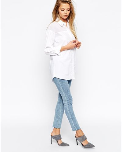 ASOS | Boyfriend White Shirt With Sheer Panel | Lyst