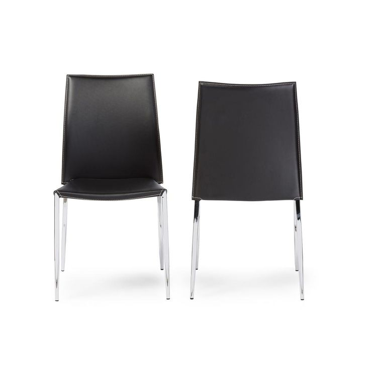 Benton Black Faux Leather Upholstered Dining Chairs (Set Of 2)