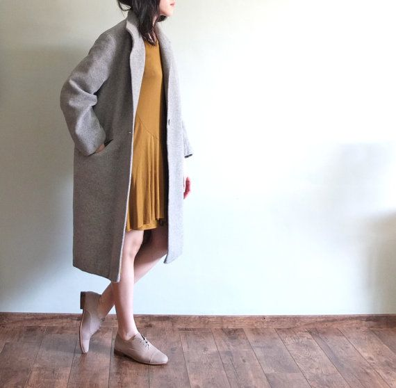 Oversize minimalist cashmere wool coat by Metaformose on Etsy