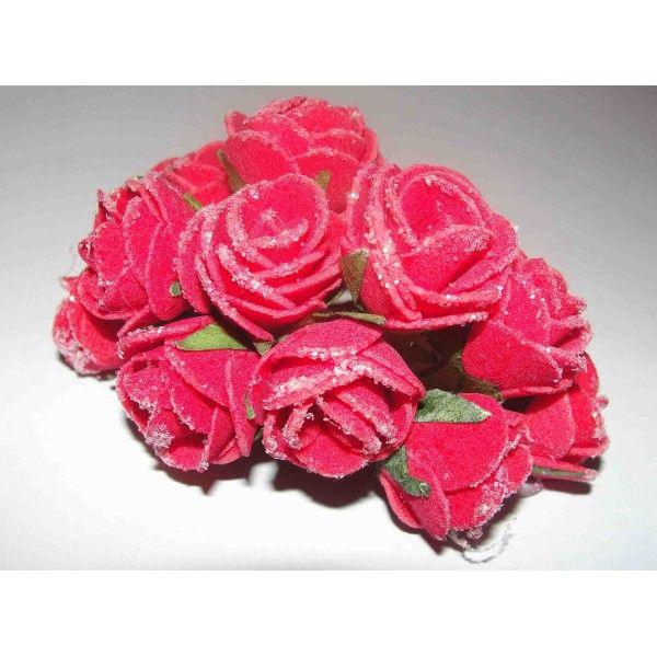 Marturii nunta : Boboc trandafir rosu cu sclipici, disponibili doar pe www.mopo.ro