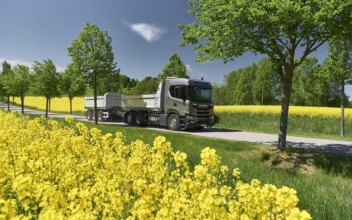 Download wallpapers Scania G500, 4k, 2017 truck, Rear-Steer Tipper, trucks, Scania