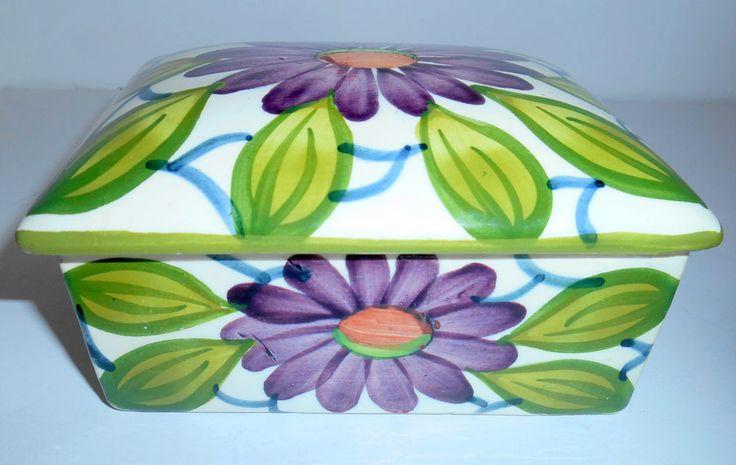 SCHRAMBERG SMF Pottery Trinket BOX & Lid Purple & Green Floral Vtg Germany EUC
