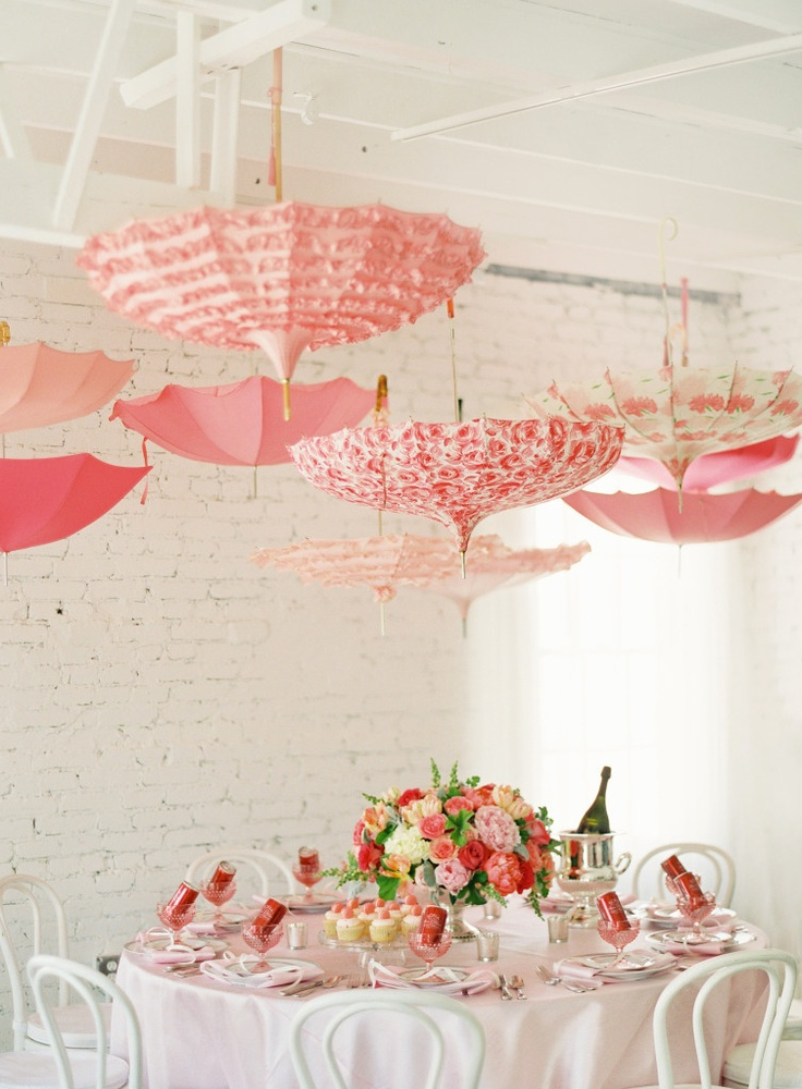 Pink baby shower with vintage umbrellas by Karson Butler Events