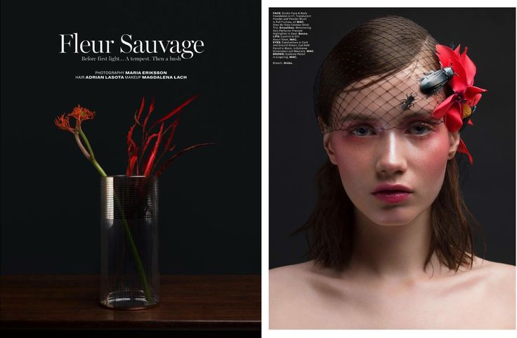 Our brooches in L'Officiel Singapore with beautiful Hanna Koczewska from GAGA Models, photo by Maria Eriksson.