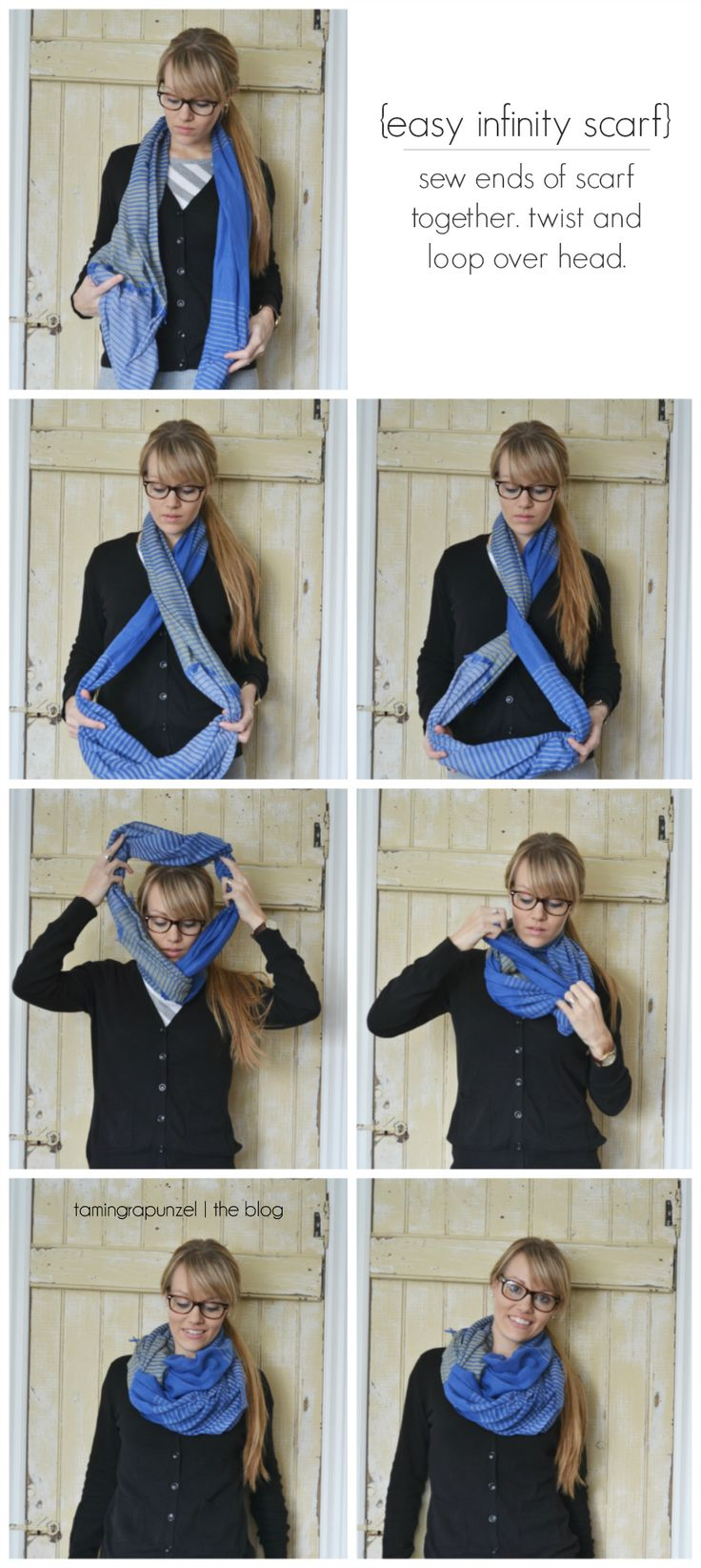 turn regular scarves into infinity scarves. perfect for all those scarves that are just a tad short.