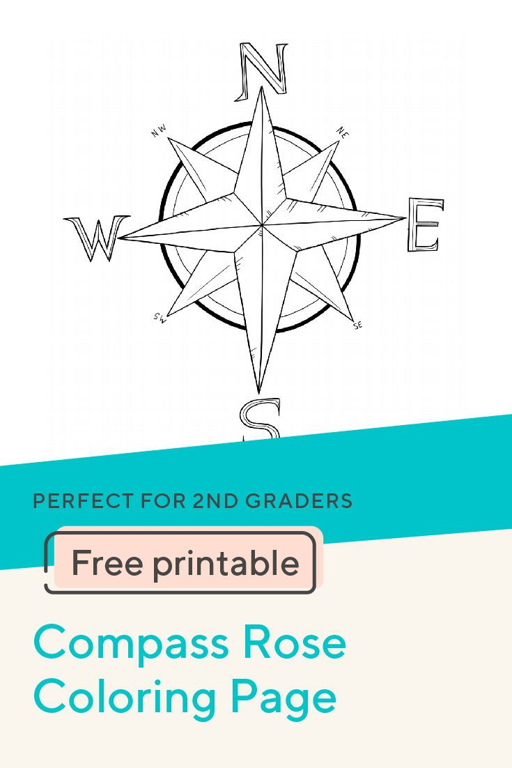 Compass Rose Coloring Page Geography For Kids Compass Rose