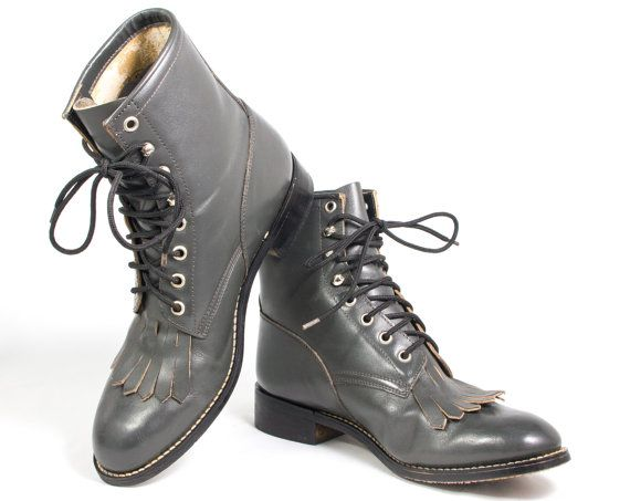VTG 90's Justin Stone Gray Leather Roper Boots size 8 Womens Riding Lace Up Calf High Boots Vintage Boots