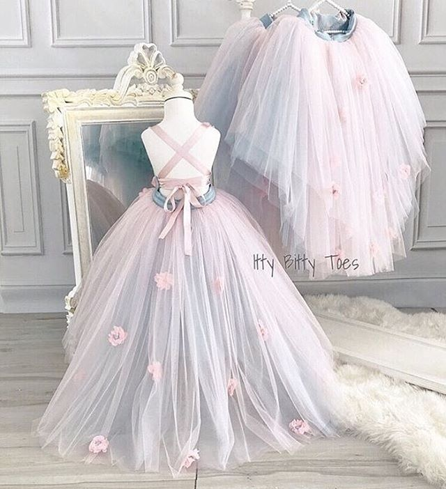 Flower Girl Princess Dress Kid Party Pageant Wedding Bridesmaid Tutu Dresses HY