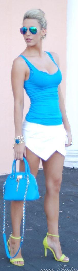 Target Blue Women's Sporty Slim Tank by Fashion Addict