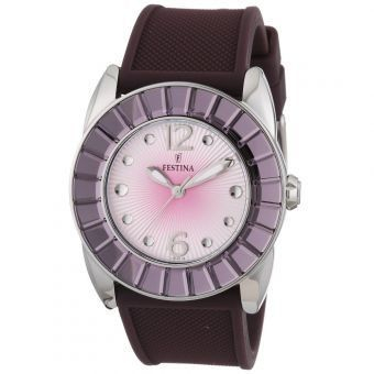 Festina Women's Dream F16540/7 Purple Rubber Quartz Watch with Silver Dial