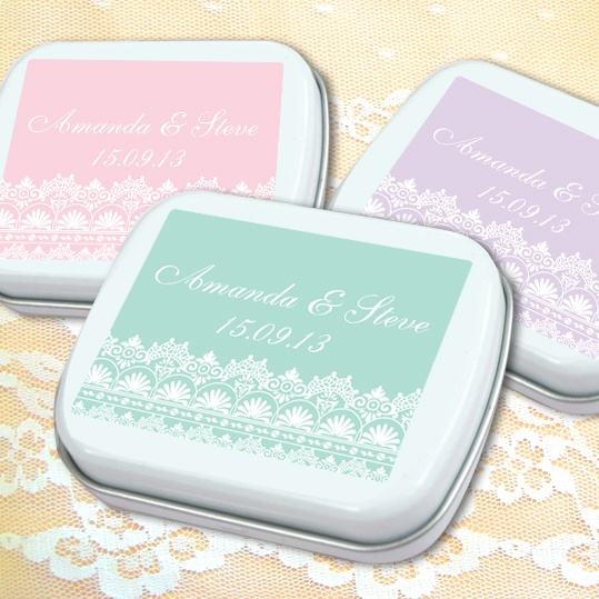 Lace Wedding Mint Tins Personalised Favours From Australia S Oniere