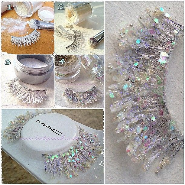 How to make Snow Queen Lashes by Karla Powell 1. Paint cheap lashes in a white base. I used Kryolan Shimmering Event Foundation in 'Pearl' 2. Using Syntho SS011 CrownbrushBrush apply a loose powder...