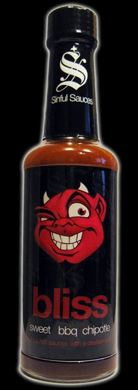 The hottest sauce from the 7 Deadly Sins Collection from Sinful Sauces has a rich smokey taste from the chipotle chillies but has an additional back of the throat burn from some naga chillies.