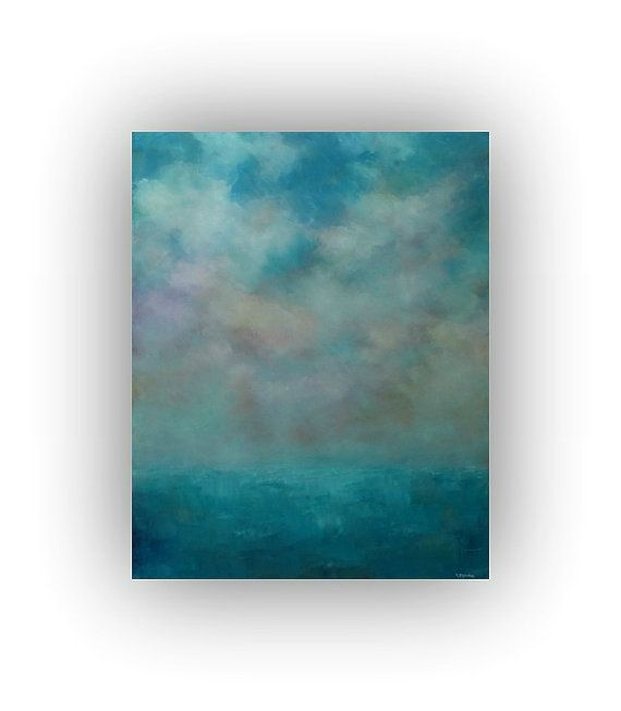 Abstract Seascape 24 x 30 Blue Purple and Yellow by traceynicholas