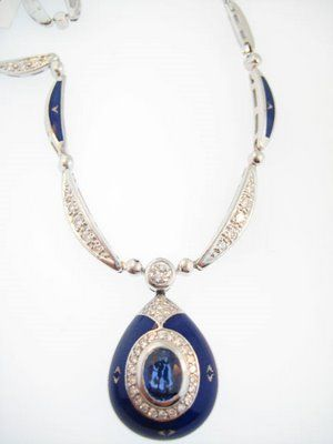 faberge jewelry | This is an elegant Faberge blue sapphire and blue enamel necklace ...