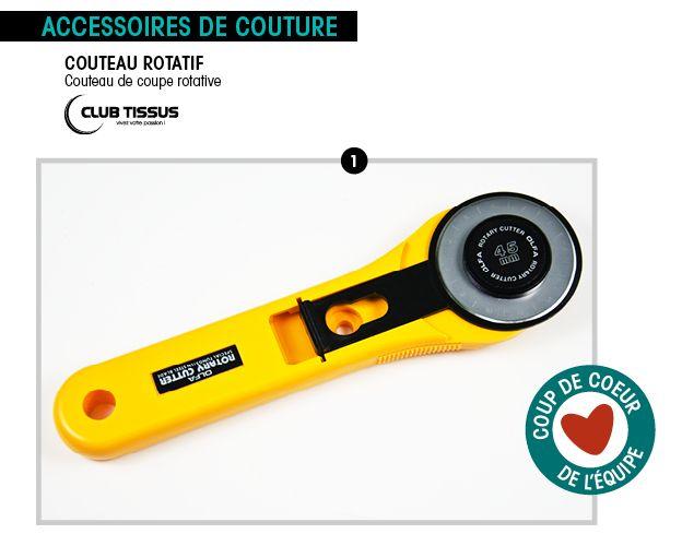 Le couteau rotatif un outil indispensable pour tout vos projets! Bonne couture! http://clubtissus.com/articles-blog/articles-couture/couteau-rotatif