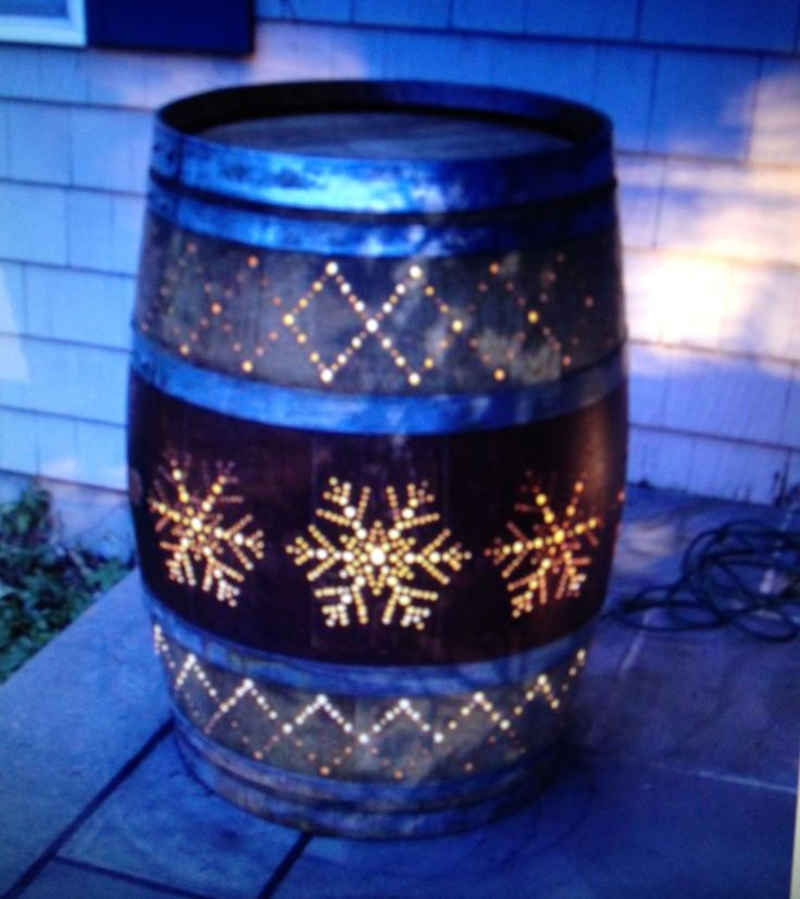 Whiskey barrel lighting idea backyard garden pinterest for Diy whiskey barrel bar