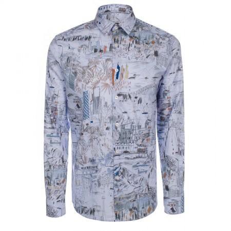 Men's Shirts - Sky Blue Global Sketchbook Print Shirt 15.