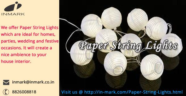 The papers can now be used as a means of attraction by moulding it into different forms. The Paper String Lights are a designer form of lanterns that can be hung at any event or occasion, i.e. a birthday party, wedding or a shower, etc.