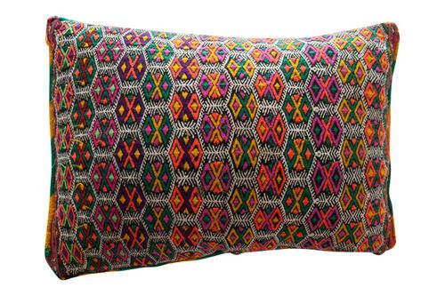 Vintage Moroccan kilim carpet cushion.  The ultimate tribal chic for modern nomads.  One of a kind.  All wool.  Hand woven with intricate talismanic patterns.The striped image is the back -- a 2 in 1 cushion! Available at Maryam Montague's online Souk!