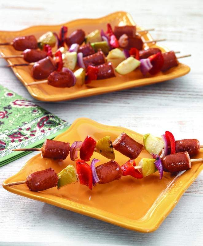 CHEDDAR WURST AND APPLE KABOBS