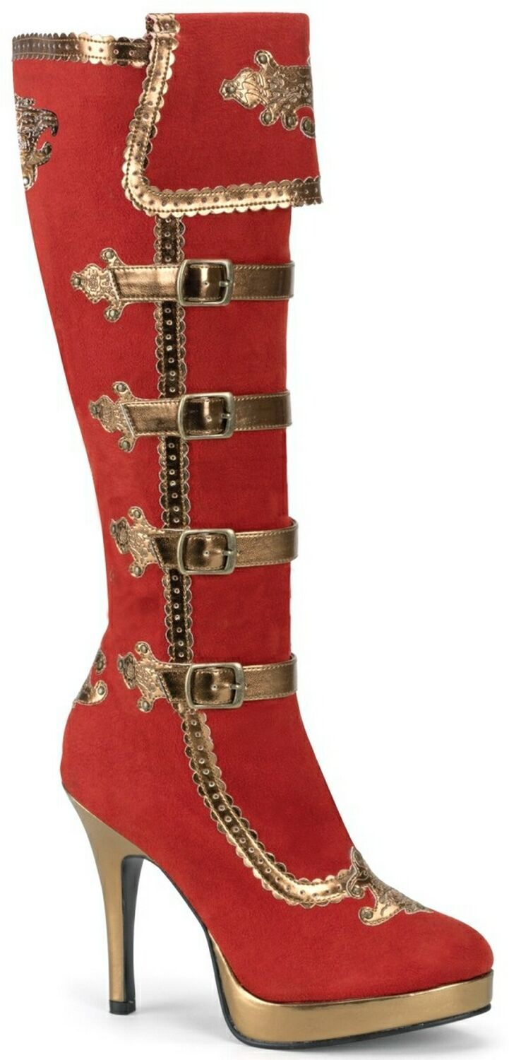 ♥ Red and Gold Carnival/Pirate Boots: Pirates Boots, Lonely Heart, Gold Carnivals, High Heels Boots, Red Boots, Gold Pirates, Awesome Boots, Red Steampunk Shoes, Gold Boots