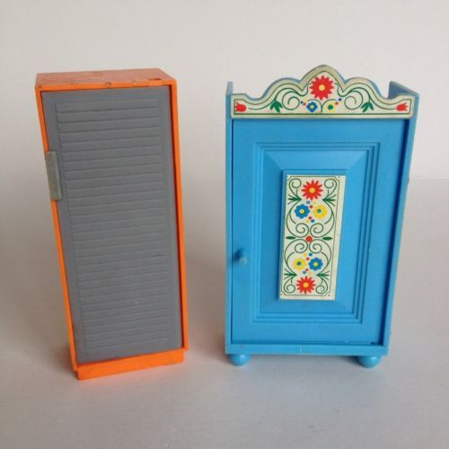 West-Germany-Dolls-House-Wardrobe-And-Locker-Coloured-Plastic-Vintage-Retro