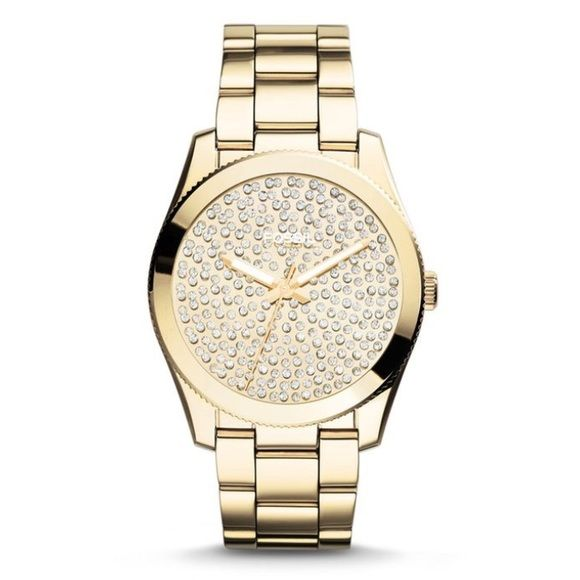 Women's Fossil Gold Watch Women's gold ion plated Fossil watch with Swarovski crystals decorating the inside of the face. Very stylish! NEW with defects. Watch still has tags, is in great condition and has never been used. Has crack in top of face with small piece of glass inside. Battery works! Authentic. No trades! Fossil Accessories Watches