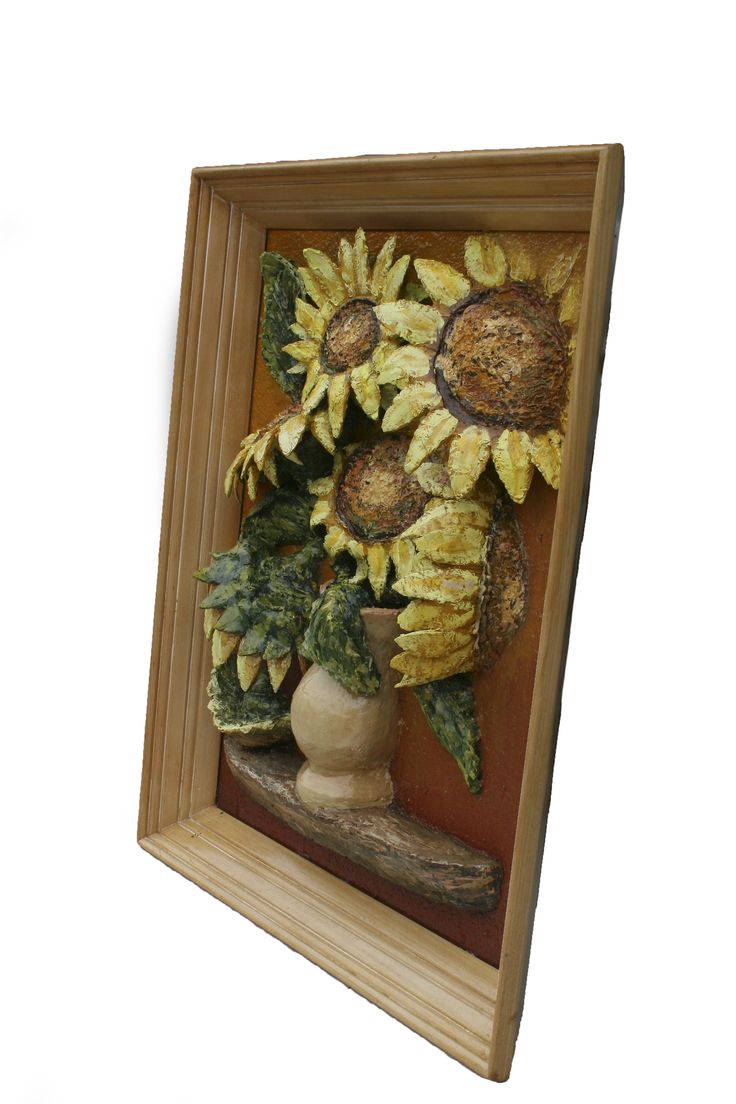 Sunflower vase painting. Right side view.