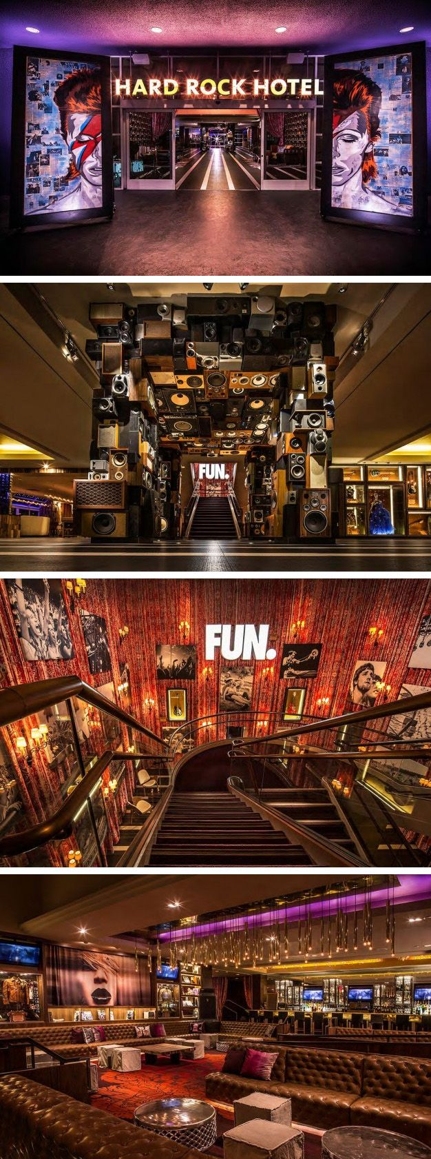 Mister Important Design designed the interiors for the Hard Rock Hotel in Palm Springs, California.