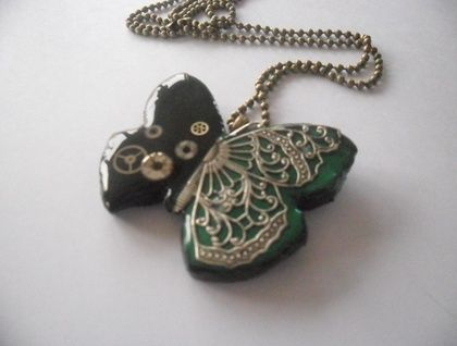 Polymer clay butterfly filigree pendant